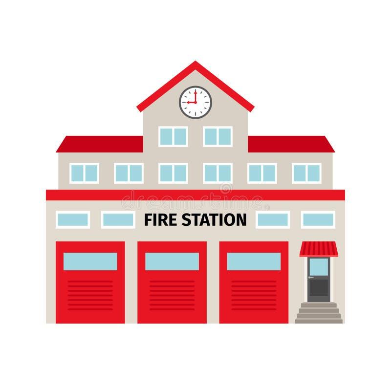 Brandweerkazerne vlak kleurrijk de bouwpictogram royalty-vrije illustratie