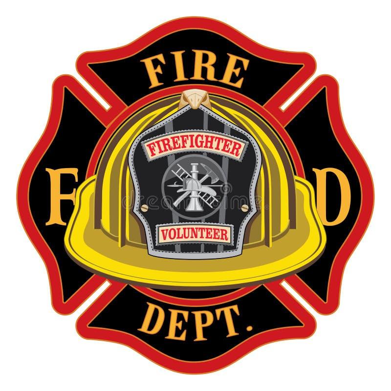Brandweerkorps Dwars Vrijwilligers Gele Helm royalty-vrije illustratie