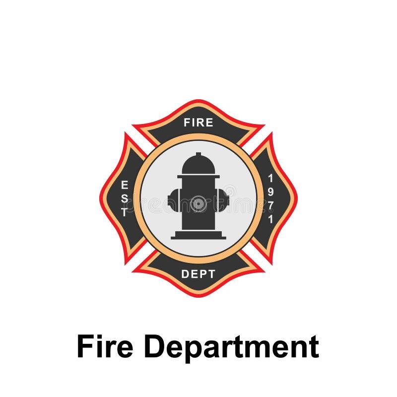 Brandweerkorps, EST pictogram Element van het tekenpictogram van het kleurenbrandweerkorps Grafisch het ontwerppictogram van de p vector illustratie
