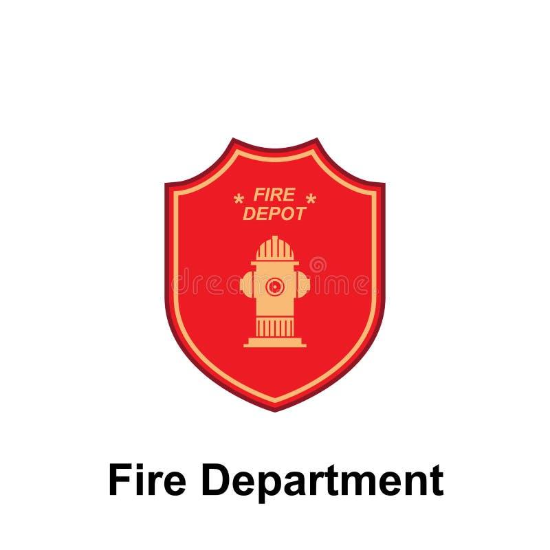 Brandweerkorps, het pictogram van het Branddepot Element van het tekenpictogram van het kleurenbrandweerkorps Grafisch het ontwer royalty-vrije illustratie