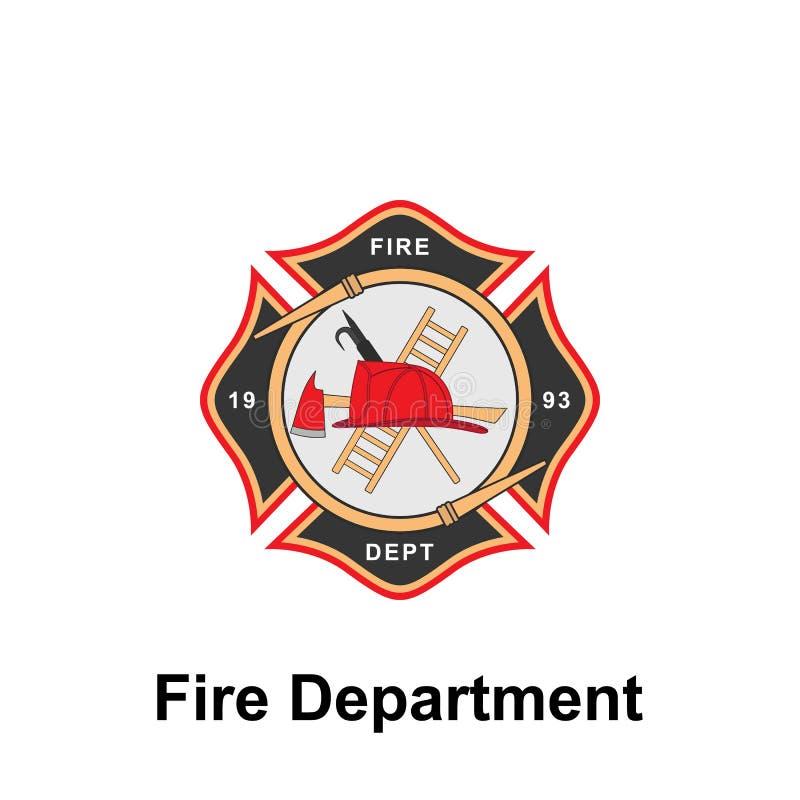 Brandweerkorps, het pictogram van 1993 Element van het tekenpictogram van het kleurenbrandweerkorps Grafisch het ontwerppictogram stock illustratie