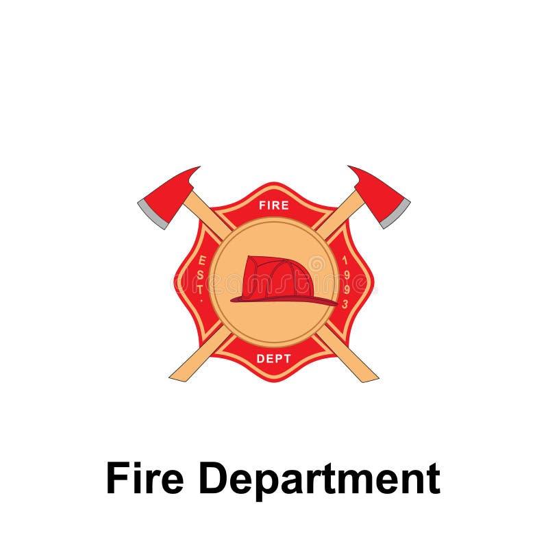 Brandweerkorps, het pictogram van Est van 1993 Element van het tekenpictogram van het kleurenbrandweerkorps Grafisch het ontwerpp vector illustratie