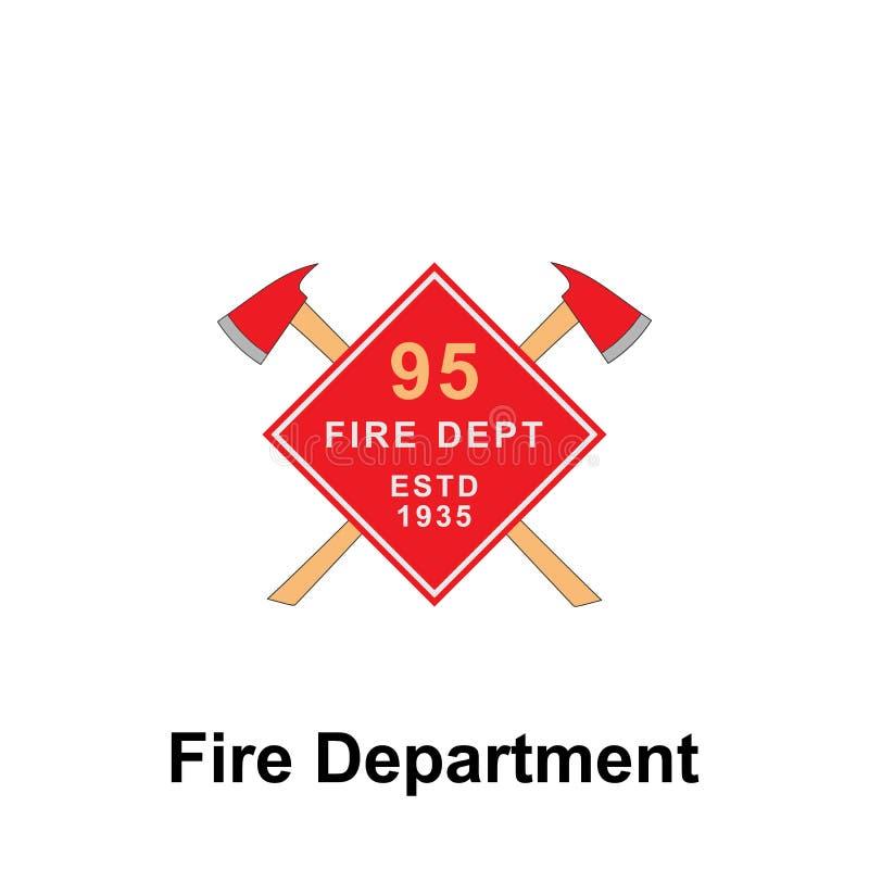 Brandweerkorps, het pictogram van ESTD 1935 Element van het tekenpictogram van het kleurenbrandweerkorps Grafisch het ontwerppict stock illustratie
