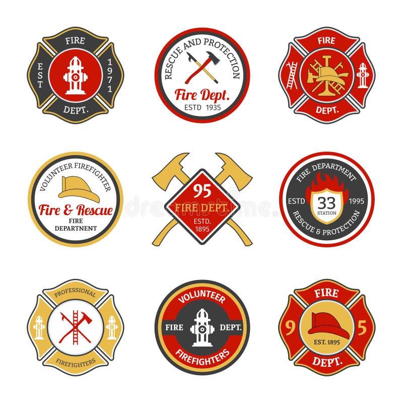 Brandweerkorpsemblemen royalty-vrije illustratie