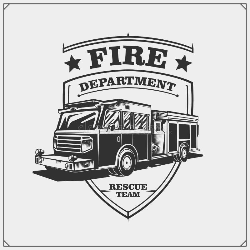 Brandweerkorpsenemblemen met Brandvrachtwagen royalty-vrije illustratie