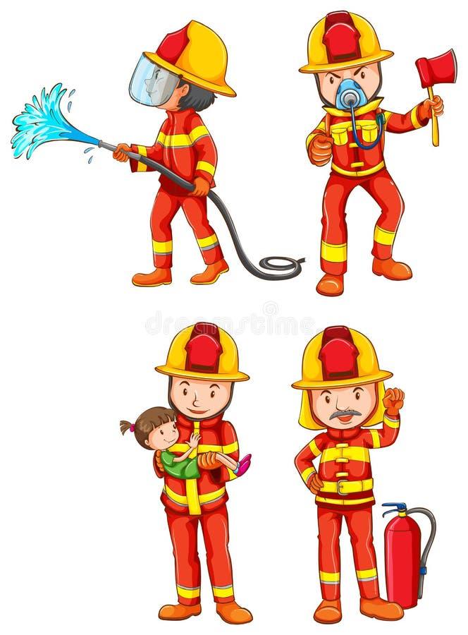 brandweerlieden royalty-vrije illustratie