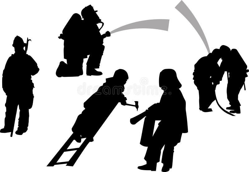 Brandweerlieden in actiereeks Vector silhouetten vector illustratie