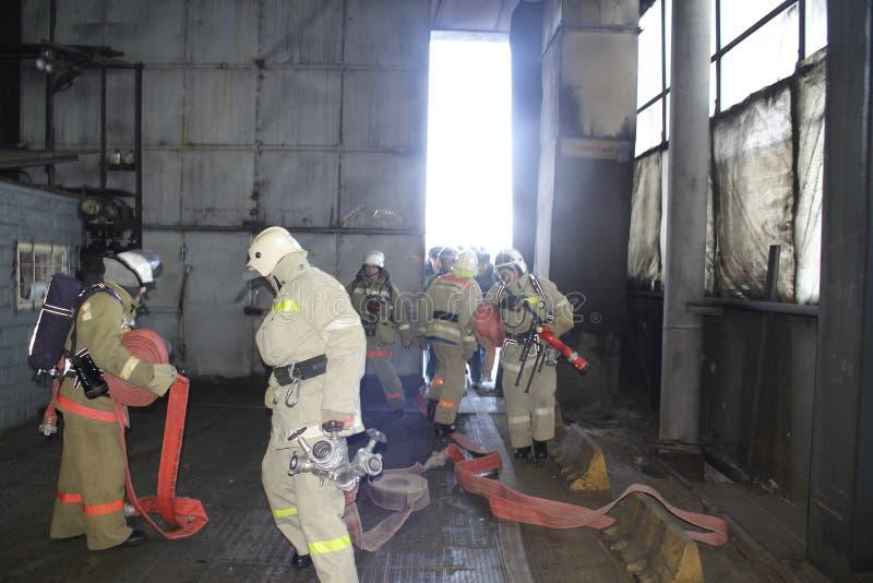 Brandweerlieden op het werk stock foto's