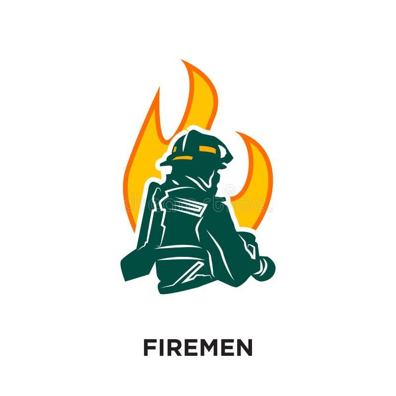 brandweerliedenembleem op witte achtergrond voor uw Web wordt geïsoleerd, mobiele a die vector illustratie