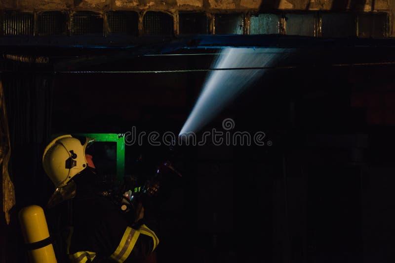 Brandweerman in actie stock foto's