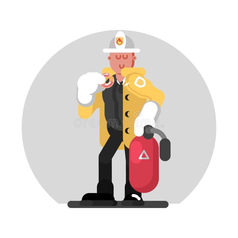 Brandweerman die zich met brandblusapparaat bevinden stock illustratie