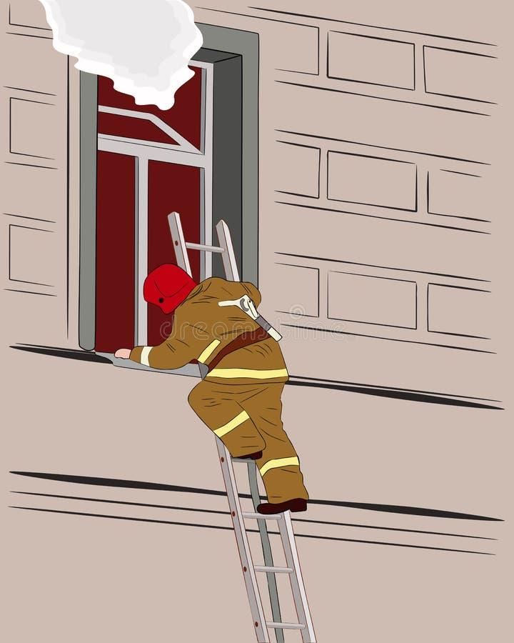 Brandweerman op de treden vector illustratie