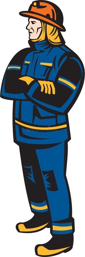 Brandweermanbrandbestrijder Folding Arms Retro vector illustratie