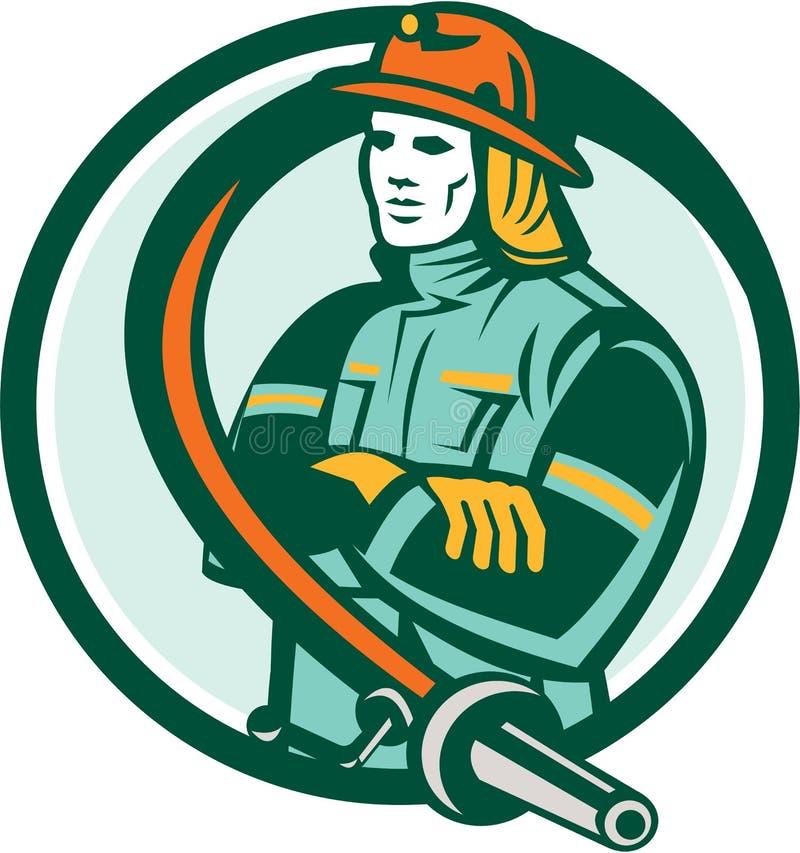 Brandweermanbrandbestrijder Retro Folding Arms Circle royalty-vrije illustratie