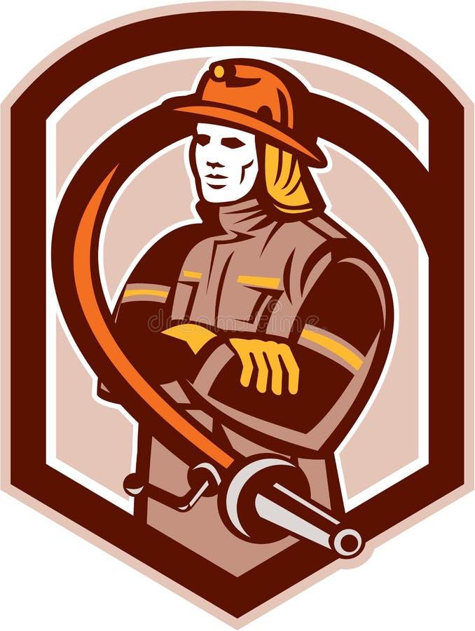 Brandweermanbrandbestrijder Retro Folding Arms Shield royalty-vrije illustratie