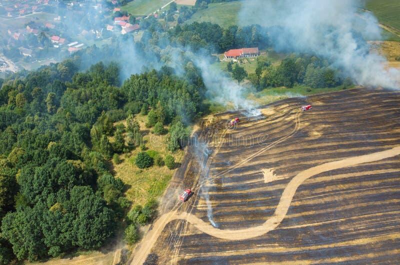Brandweermanvrachtwagen die aan het gebied op brand werken royalty-vrije stock afbeeldingen