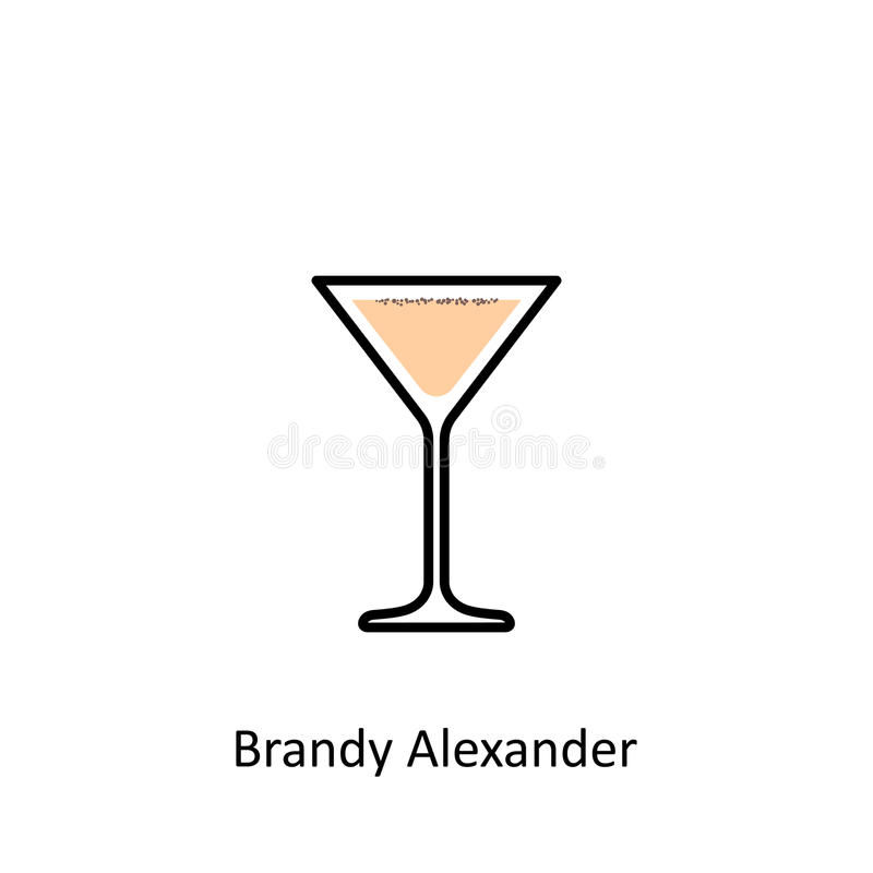 Brandy Alexander cocktail icon in flat style royalty free illustration