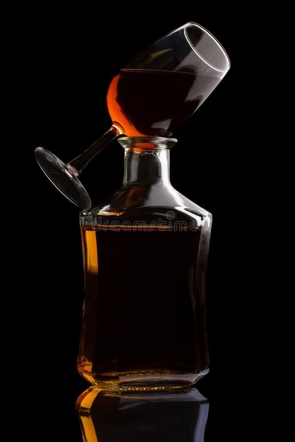 Brandy on black stock image