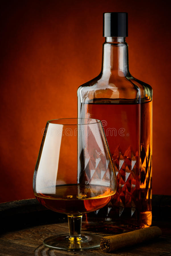 Brandy and cigar royalty free stock photography