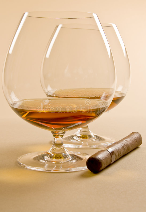 Brandy and Cigar stock images