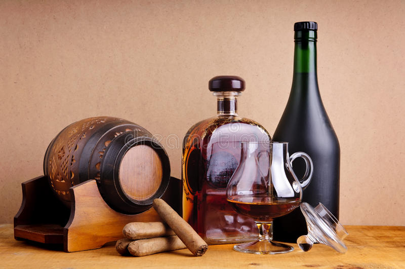 Brandy and cigars royalty free stock photos