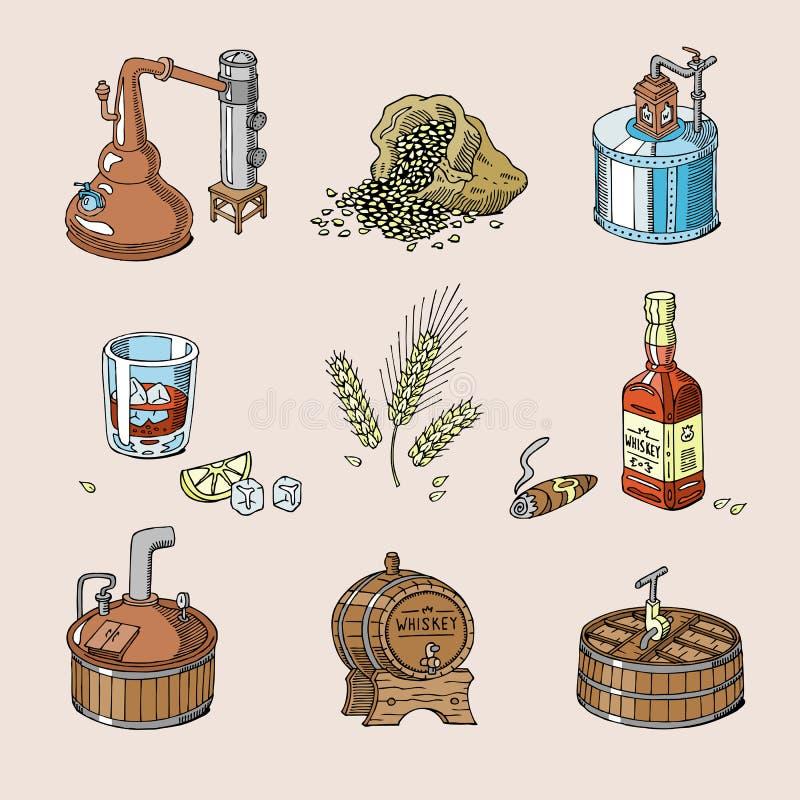 Brandy de la bebida del alcohol del vector del whisky en el vidrio y la bebida escoceses o borbón en el sistema del ejemplo de la stock de ilustración