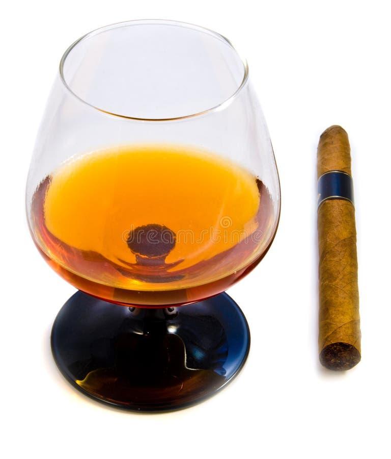 Brandy e sigaro immagine stock
