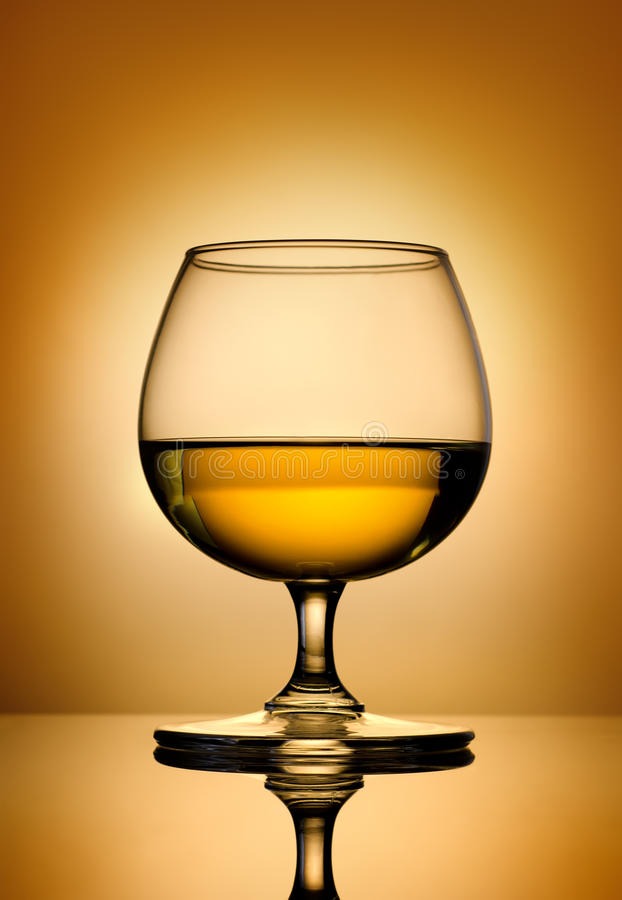 Brandy on a gold background stock photography
