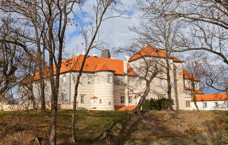 Brandys nad Labem Castle (XIV c.), Czech Republic. Side view of the castle in Brandys nad Labem town, Czech Republic. Founded in XIV c., later reconstructed in stock photos