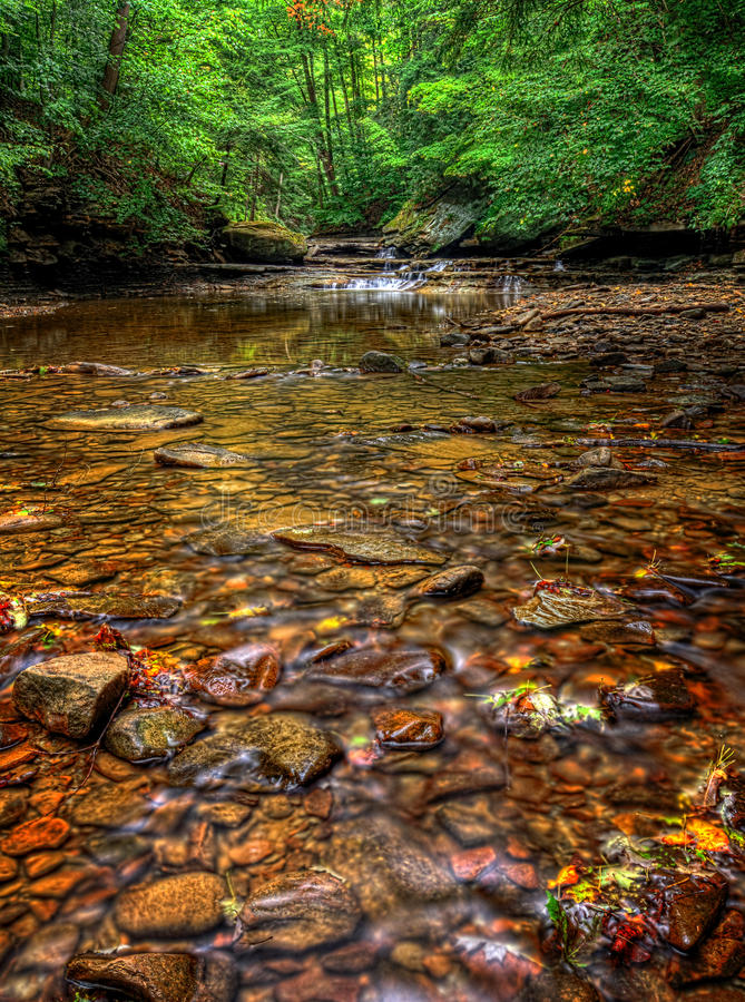 Brandywine Creek. The colorful rocks in the clear water of Brandywine Creek in Cuyahoga Valley National Park Ohio. Seen here in summer with low water flow royalty free stock images