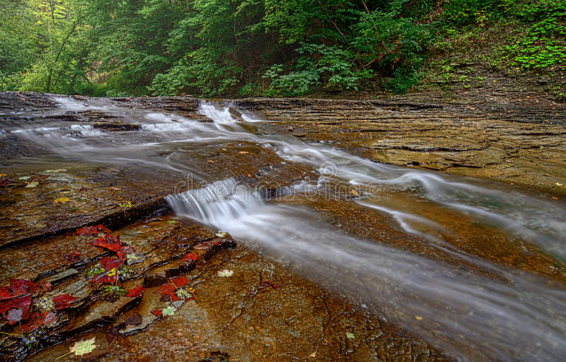 Brandywine Creek Falls. A small waterfall on Brandywine Creek in Cuyahoga Valley National Park Ohio. Seen here in late summer with low water flow royalty free stock photos