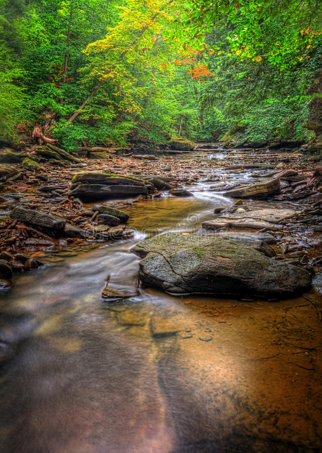 Brandywine Creek Falls. A small waterfall on Brandywine Creek in Cuyahoga Valley National Park Ohio. Seen here in summer with low water flow stock photo