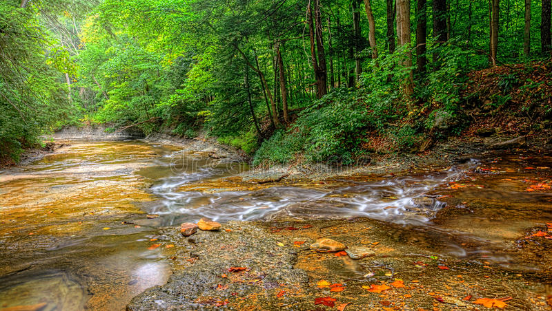 Brandywine Creek Falls. A small waterfall on Brandywine Creek in Cuyahoga Valley National Park Ohio. Seen here in summer with low water flow stock image
