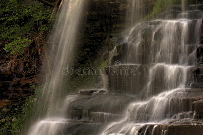 Brandywine Falls. A close look at a section of Brandywine Falls in Cuyahoga Valley National Park Ohio. A gorgeous 65 foot falls seen here in late spring as the stock photography