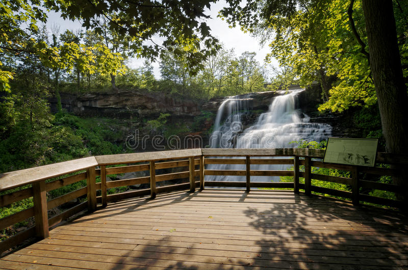 Brandywine Falls. In Cuyahoga Valley National Park Ohio. A gorgeous 65 foot falls seen here in late spring from the viewing platform royalty free stock photography