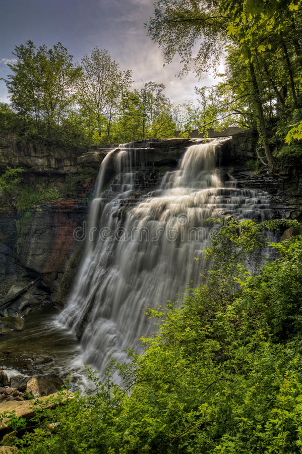 Brandywine Falls. In Cuyahoga Valley National Park Ohio. A gorgeous 65 foot falls seen here in late spring from the viewing platform stock images