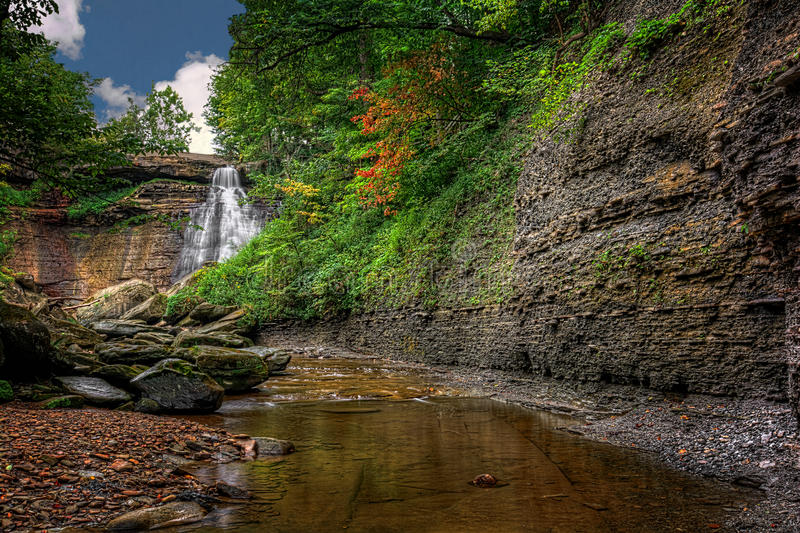 Brandywine Falls. In Cuyahoga Valley National Park Ohio. A gorgeous 65 foot falls seen here in late summer from the creek bed stock image