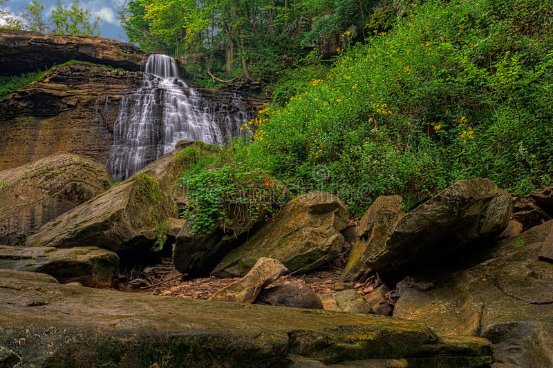 Brandywine Falls. In Cuyahoga Valley National Park Ohio. A gorgeous 65 foot falls seen here in summer from the creek bed stock photography