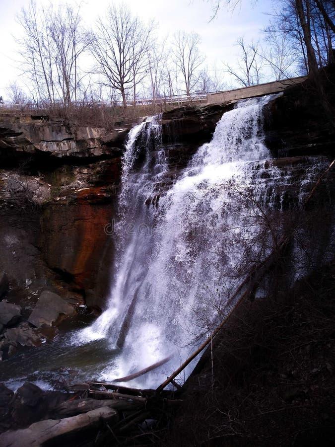 Brandywine Falls in Peninsula Ohio. Nature, water, river, tree royalty free stock images