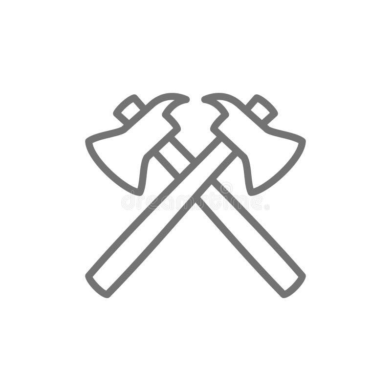 Brandyxor, brandmanutrustninglinje symbol bakgrund isolerad white royaltyfri illustrationer