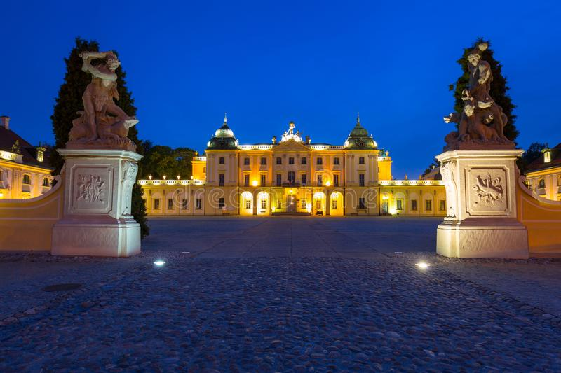 The Branicki Palace at night in Bialystok stock photo