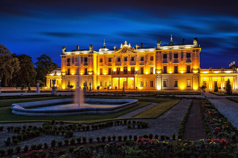 Branicki Palace at night royalty free stock photography