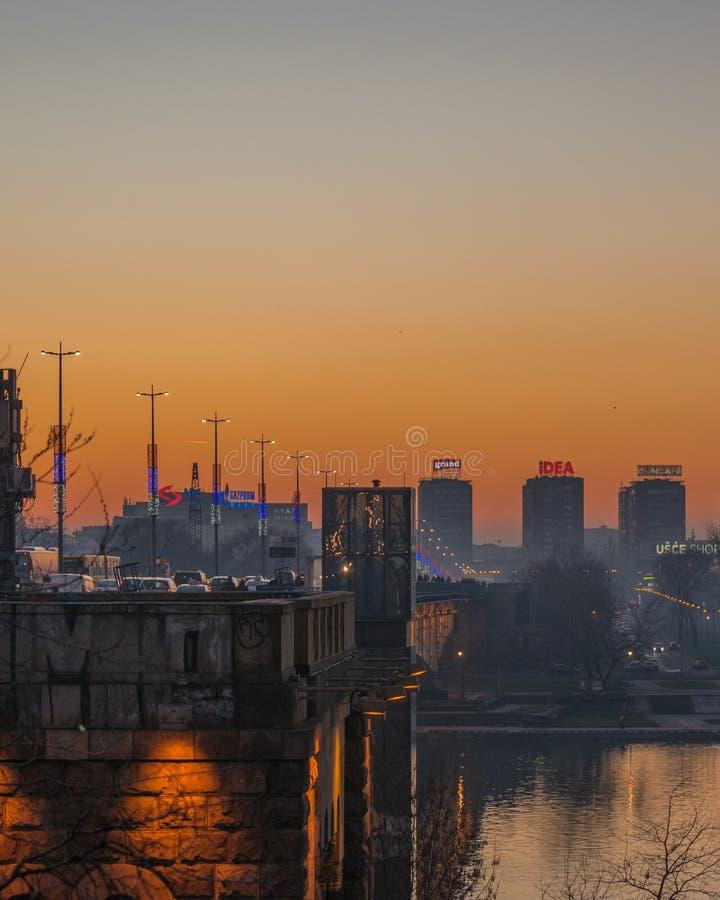 Brankos brigde over Sava-rivier royalty-vrije stock foto's