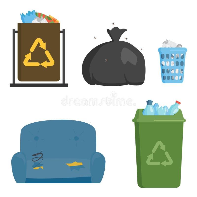 Bransch för ledning för gummihjul för påsar för avfall för återvinningavskrädebeståndsdelar använder begrepp, och avfallsekologi  stock illustrationer