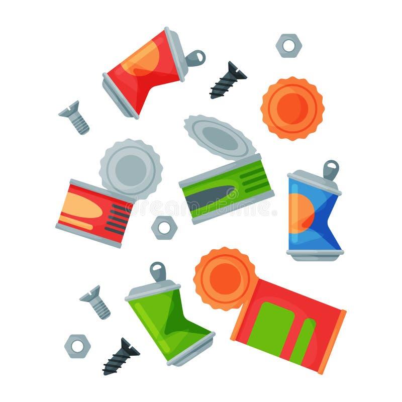 Bransch för ledning för gummihjul för påsar för avfall för beståndsdelar för återvinningavskrädemetall använder avfalls kan vekto stock illustrationer