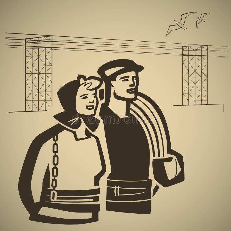 Branschfolk stock illustrationer