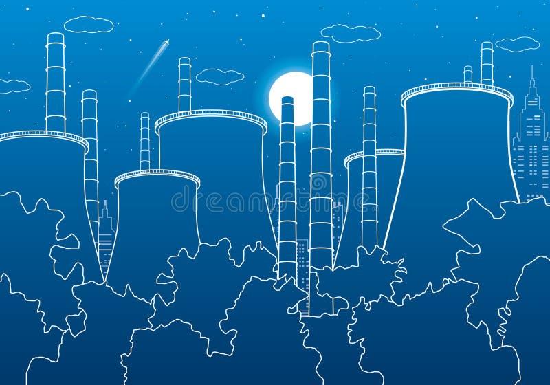 Branschillustration Fabriksthermalkraftverk stads- plats Leda i rör och röker Vita linjer på blå bakgrund Vektordesign ar vektor illustrationer