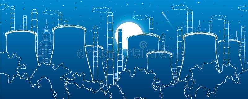 Branschillustration Fabriksthermalkraftverk stads- plats Leda i rör och röker Vita linjer på blå bakgrund Vektordesign ar royaltyfri illustrationer