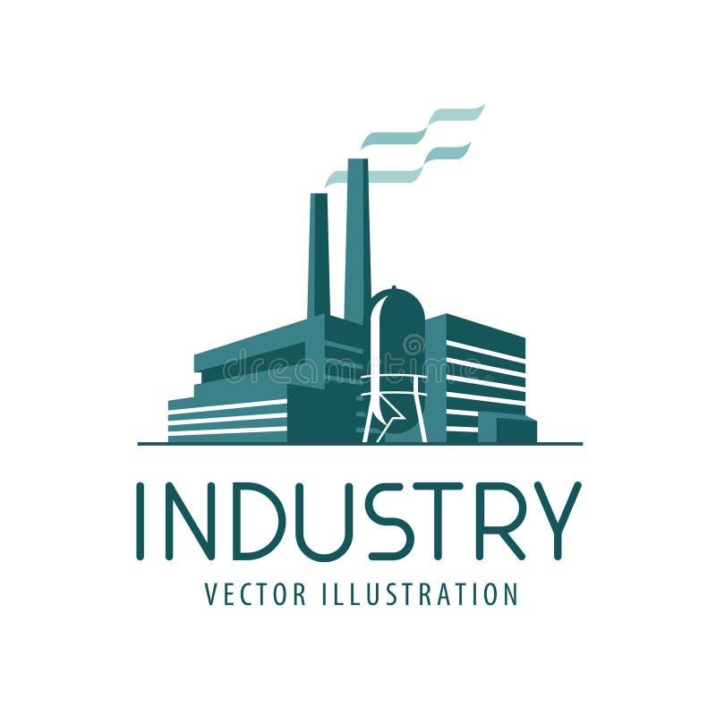 Branschlogo eller symbol Fabrik industriell produktion, byggande etikett också vektor för coreldrawillustration stock illustrationer