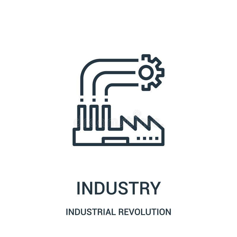 branschsymbolsvektor från samling för industriell revolution Tunn linje illustration för vektor för branschöversiktssymbol royaltyfri illustrationer